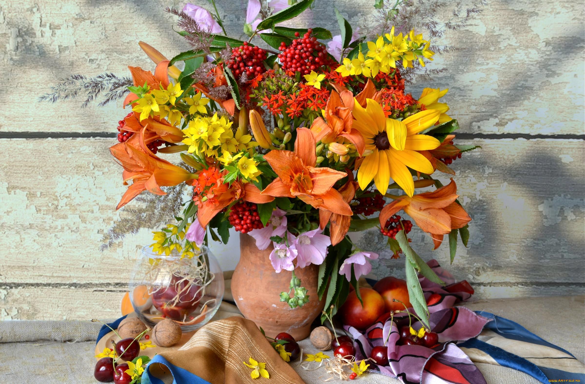 Букеты из рябины и цветов фото